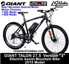 2015 Giant Talon 27.5 Version 3 electric mountain bike